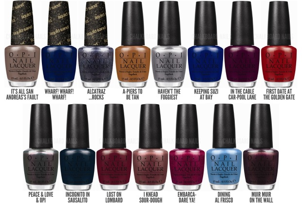 OPI SF 2013 Collection. Image from sweisinc.com. The San Francisco collection is one of my favorites.